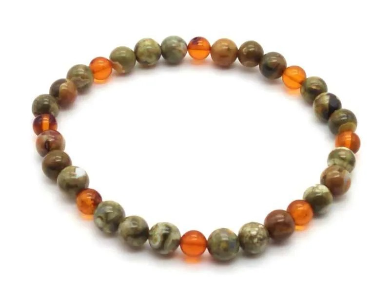 Elastic gemstone 6 mm bead bracelet - rhyolite and amber.