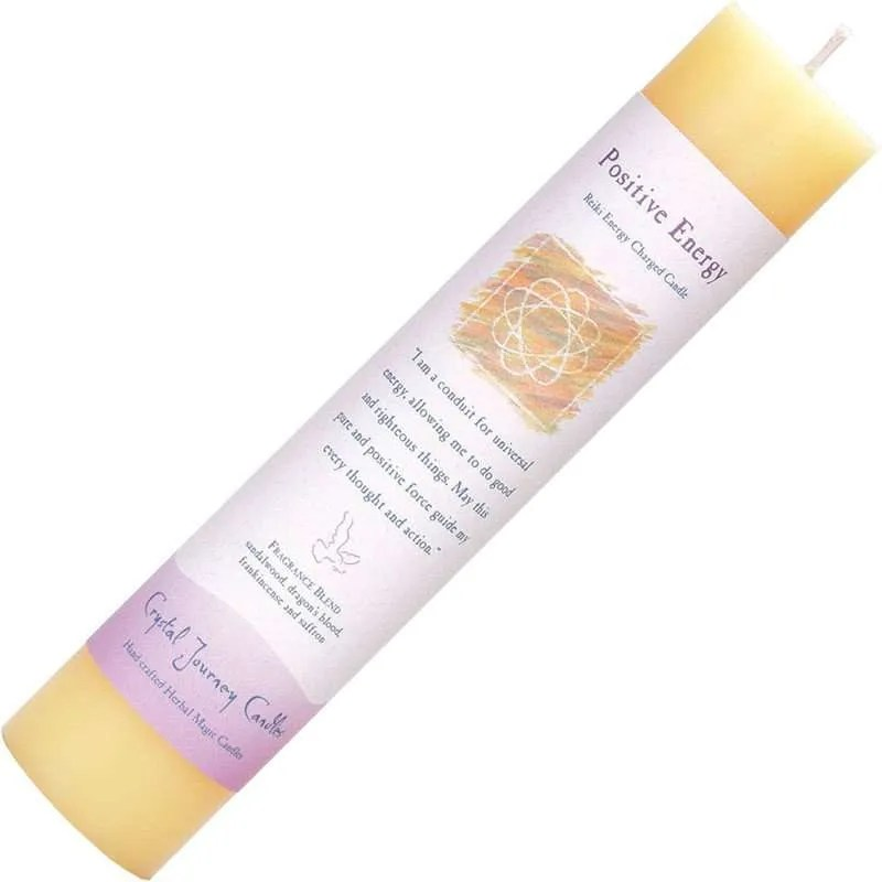 Light yellow pillar candle, seven inches high, one and one half inch diameter.