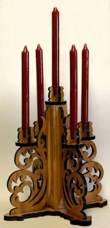 Cherry wood tabletop candelabra.
