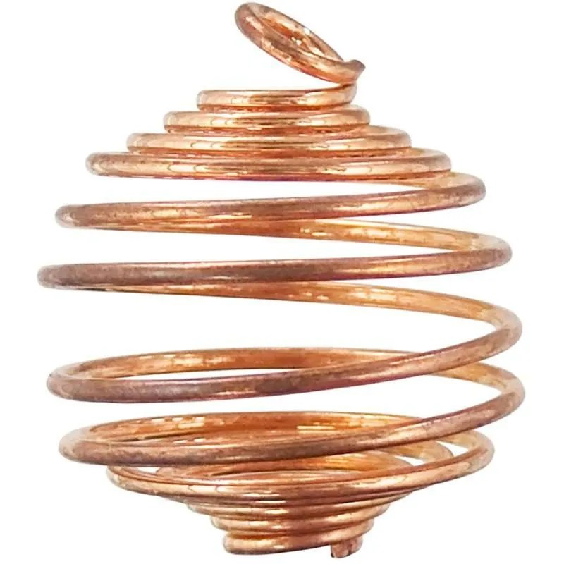 One inch wire spiral copper cage pendant.
