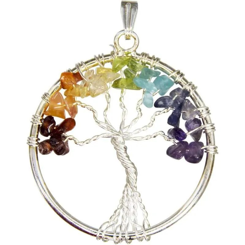Silver wire tree of life pendant with chakra colored gemstone chip leaves.