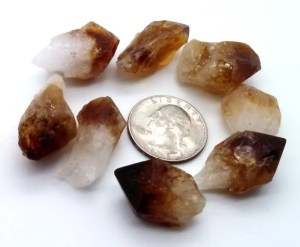 Rough citrine points with quarter for size comparison.