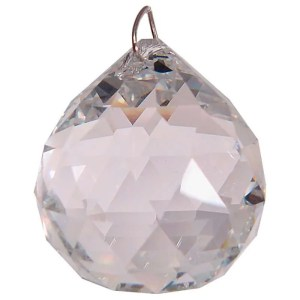 Large faceted feng shui hanging crystal - round.