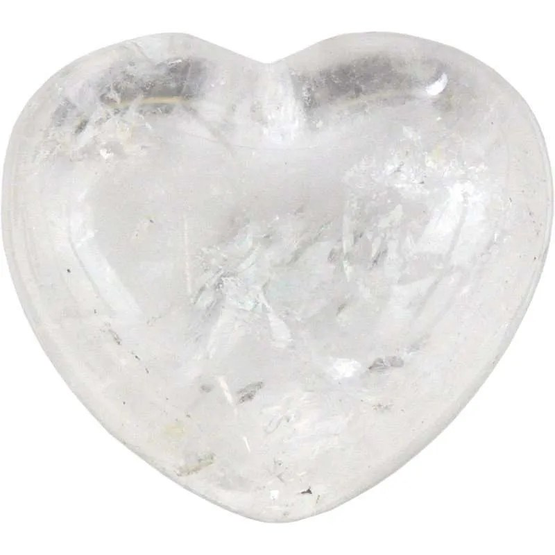 Carved gemstone heart - clear quartz.