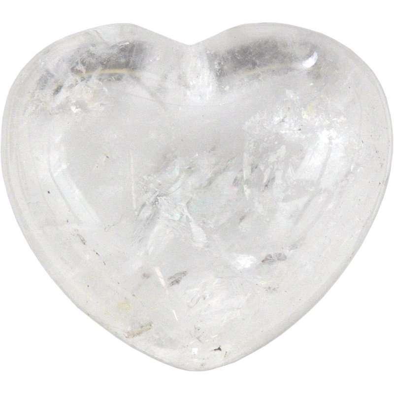 Carved gemstone heart - clear quartz.