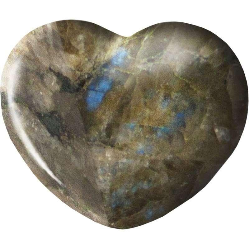 Carved gemstone heart - labradorite.