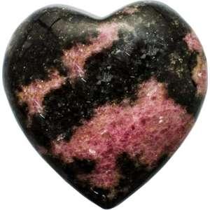 Carved gemstone heart - rhodonite.