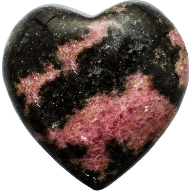 Carved gemstone heart - rhodonite.