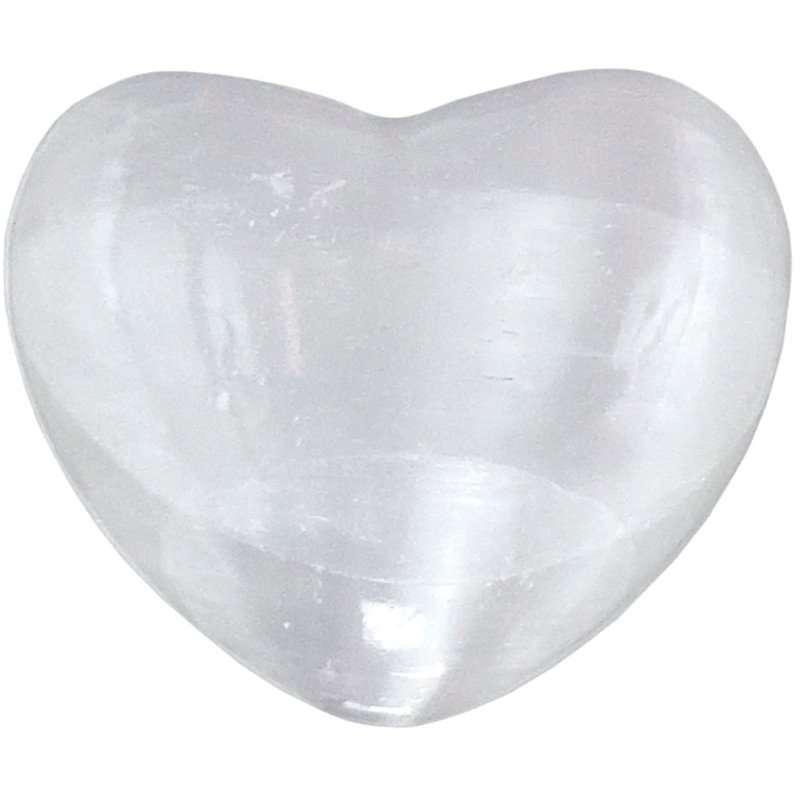 Carved gemstone heart - selenite.