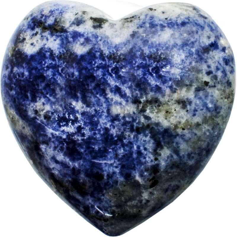 Carved gemstone heart - sodalite.