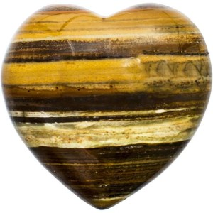 Carved gemstone heart - tiger's eye.