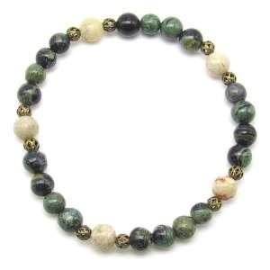 Kambaba jasper and moss opal 6mm bead bracelet