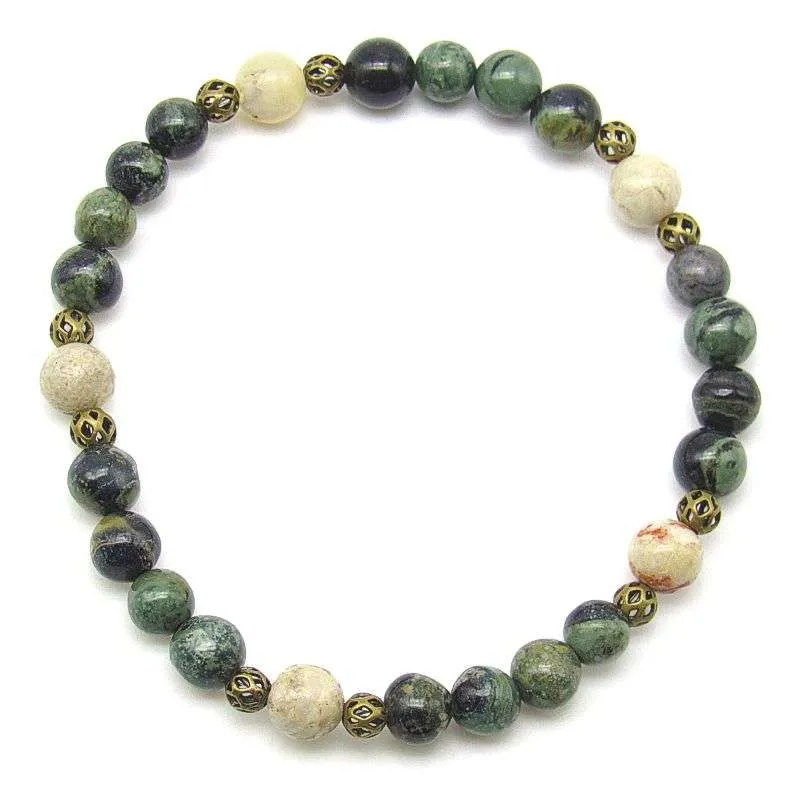 Kambaba jasper and moss opal 6mm bead bracelet