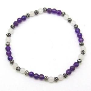 Amethyst and snow quartz 4mm bead bracelet.