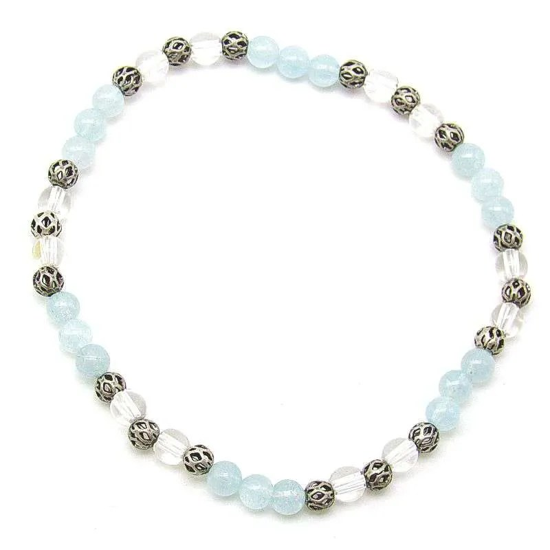Aquamarine and quartz 4mm bead bracelet.