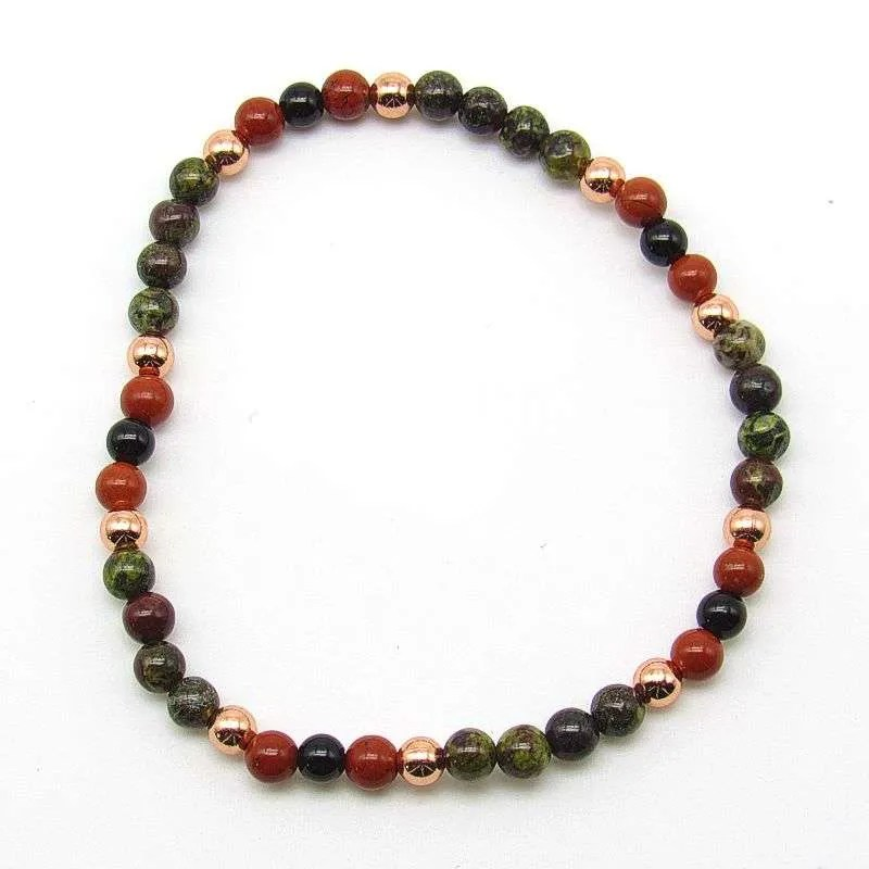 4mm chakra bead bracelet - root/base chakra.
