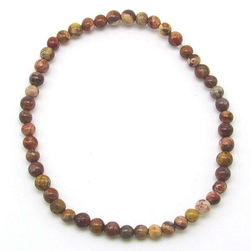Bird's eye rhyolite 4mm bead bracelet.