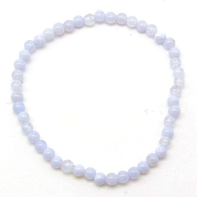 Blue lace agate 4mm bead bracelet.