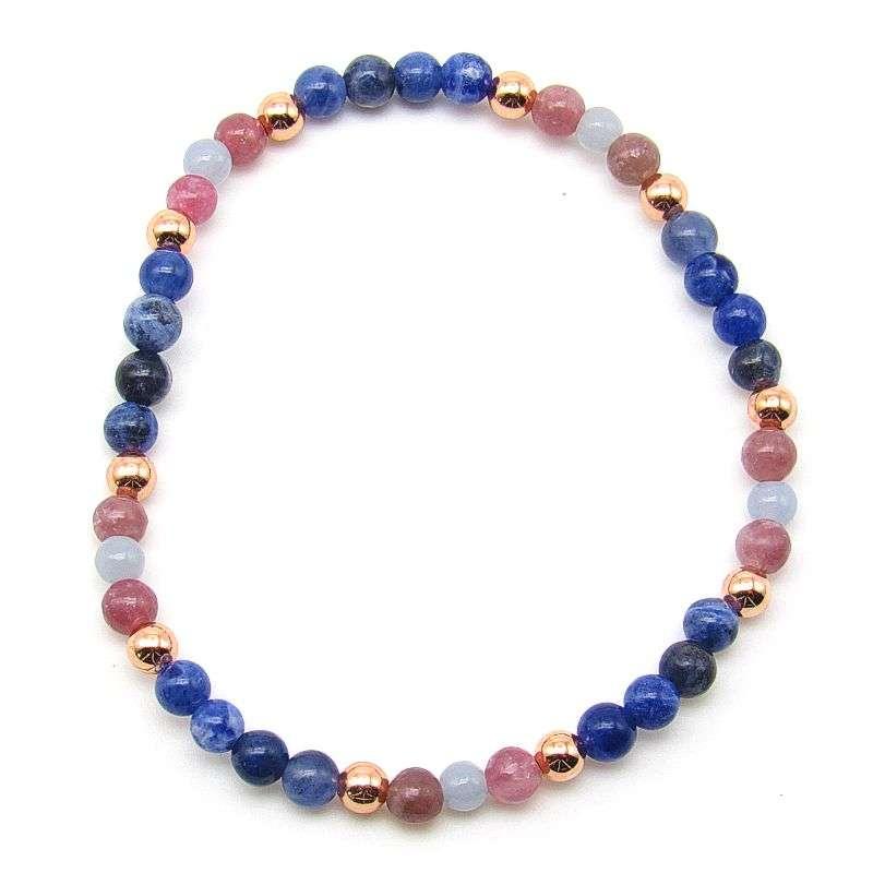 4mm chakra bead bracelet - brow/3rd eye chakra.