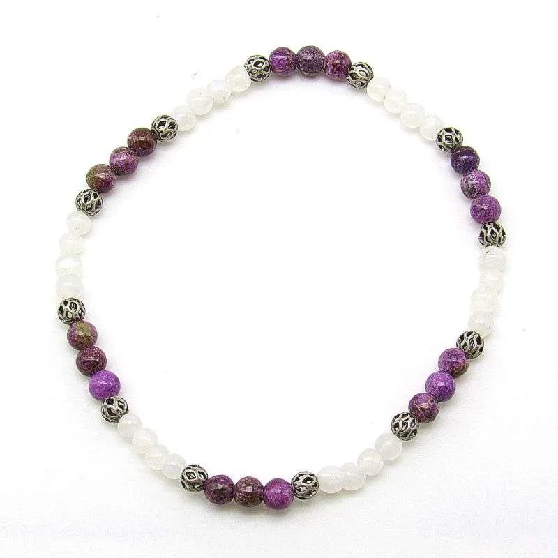 Charoite and rainbow moonstone 4mm bead bracelet.