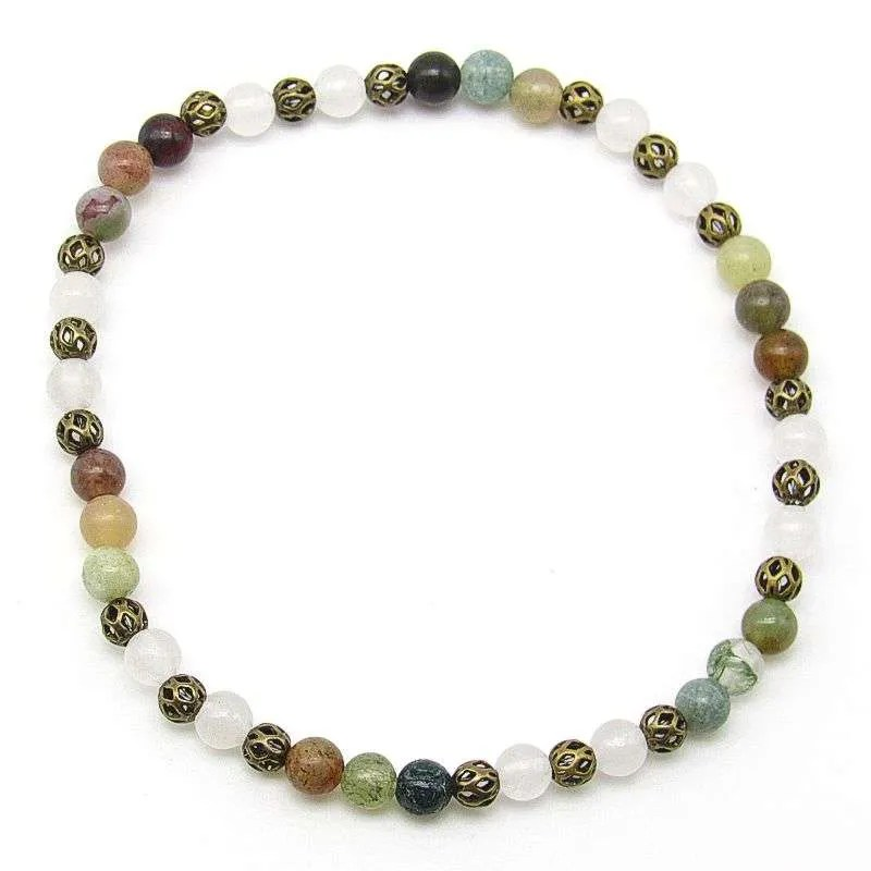 Fancy jasper and snow quartz 4mm bead bracelet.