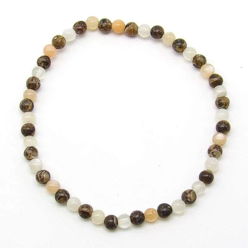 Moonstone and turritella agate 4mm bead bracelet