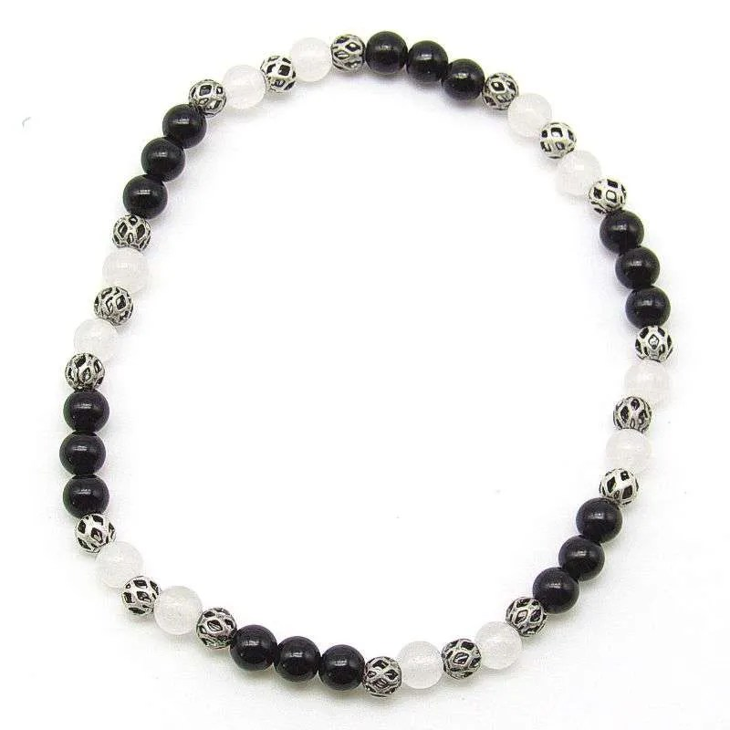 Jet and snow quartz 4mm bead bracelet