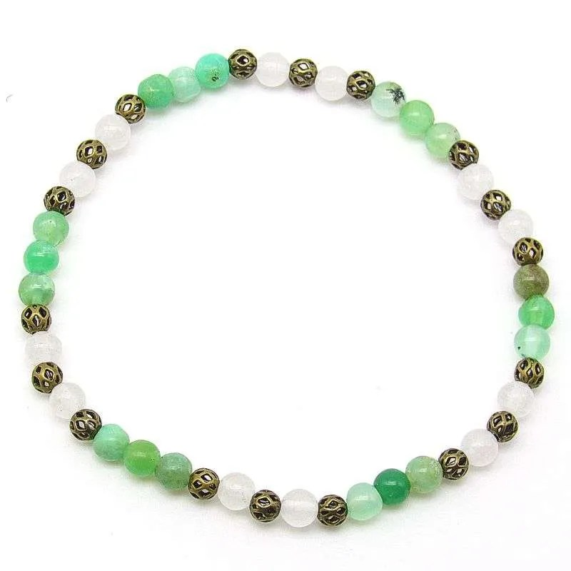 Chrysoprase and snow quartz 4mm bead bracelet.