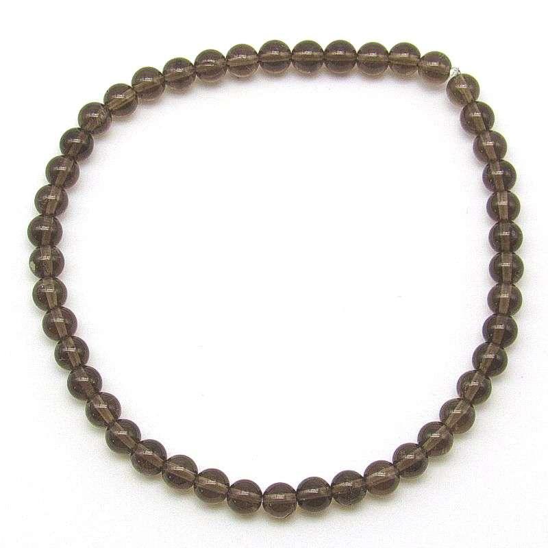 Smoky quartz 4mm bead bracelet.