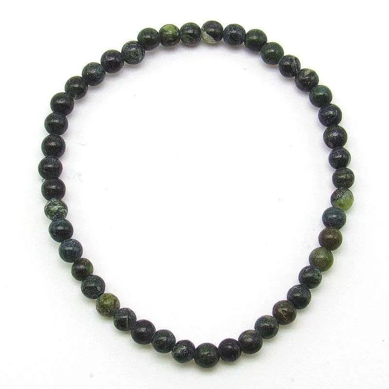 Green serpentine 4mm bead bracelet.
