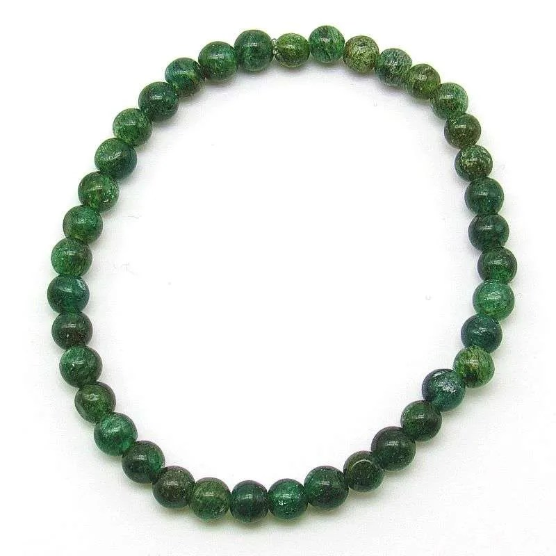 Emerald green aventurine 5mm bead bracelet.