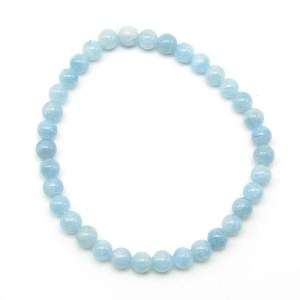 Aquamarine 6mm bead bracelet.