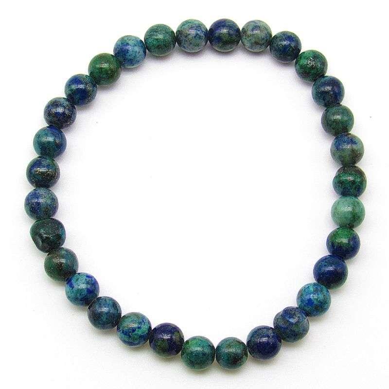 Azurite with malachite 6mm bead bracelet.