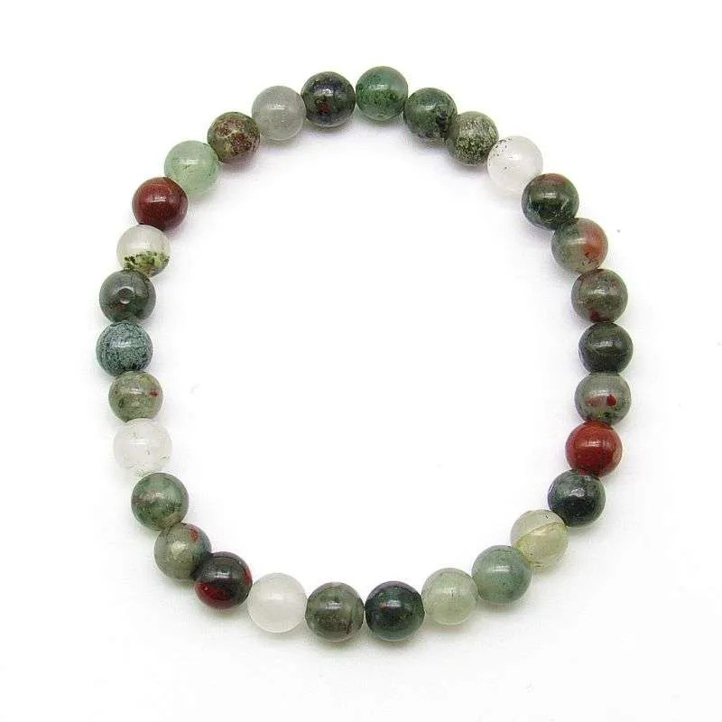 Bloodstone 6mm bead bracelet