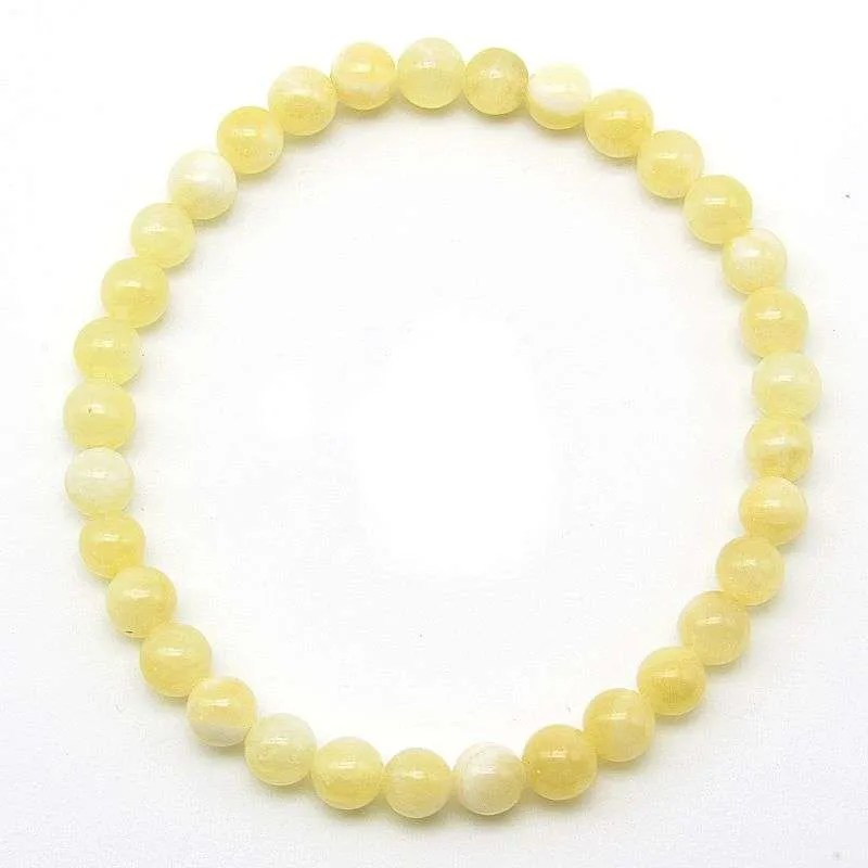 Yellow calcite 6mm bead bracelet