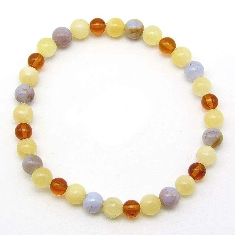 Calcite, blue chalcedony and amber 6mm bead bracelet