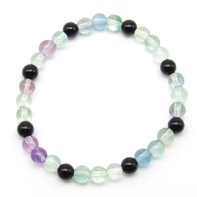 Fluorite and onyx 6mm bead bracelet