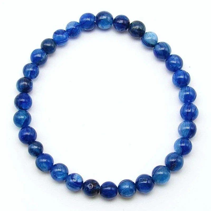 Blue kyanite 6mm bead bracelet