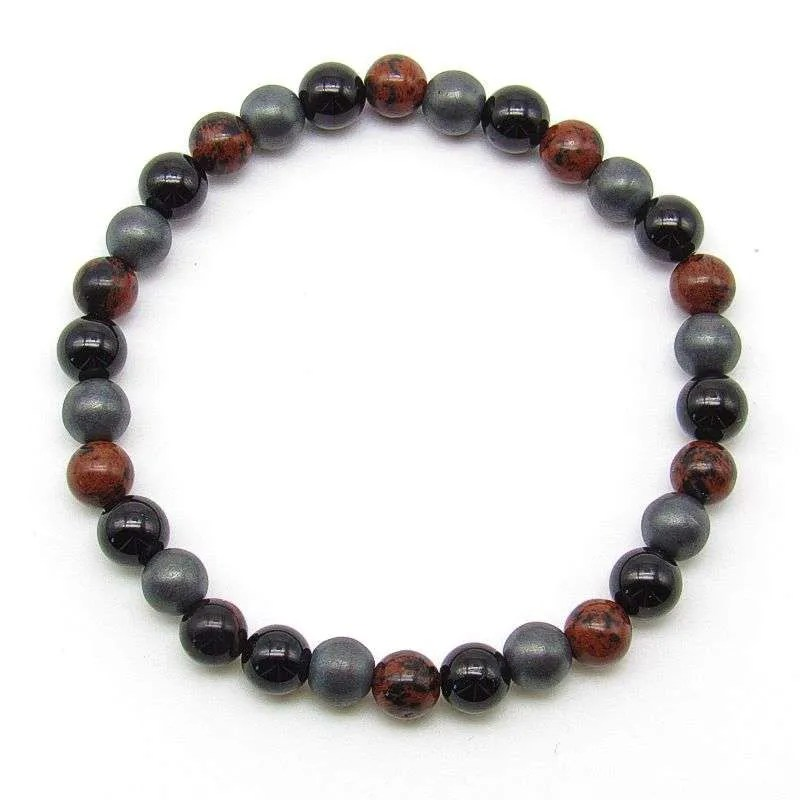 Black obsidian, mahogany obsidian and hematite 6mm bead bracelet