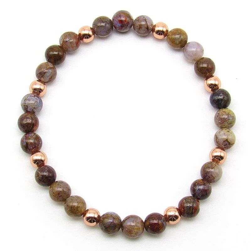 Pietersite and copper 6mm bead bracelet