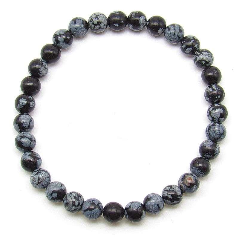 Snowflake obsidian 6mm bead bracelet