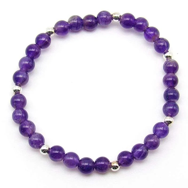 Amethyst and silver plated brass 6mm bead bracelet