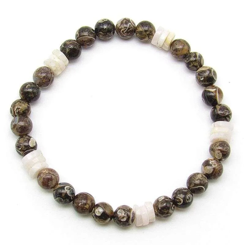 Turritella agate 6mm bead bracelet with aragonite rondelle beads