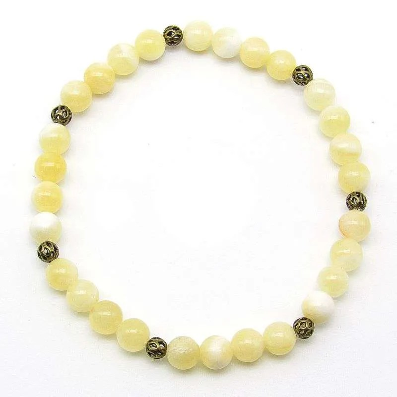 Embellished yellow calcite 6mm bead bracelet