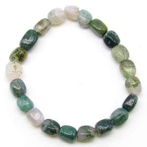 Moss agate pebble bracelet