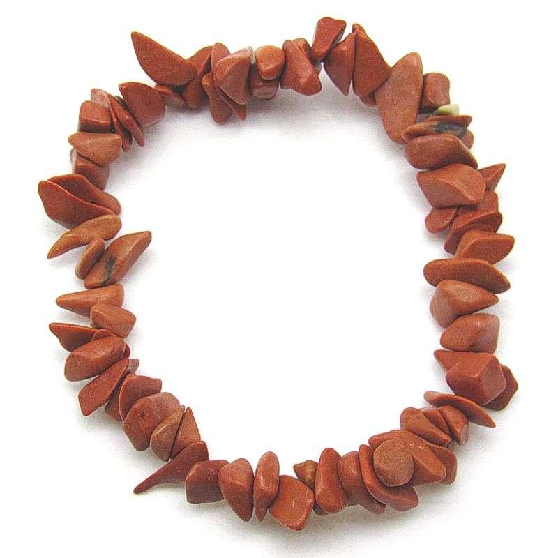 Red jasper matte chip bracelet.