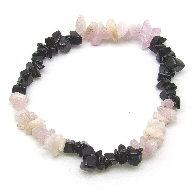 Kunzite and black obsidian chip bracelet.