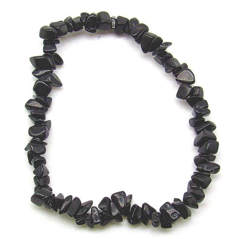 Black obsidian chip bracelet.