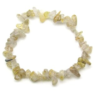 Golden rutilated quartz chip bracelet.