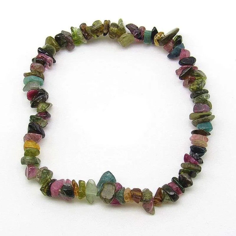 Watermelon tourmaline chip bracelet-small chips.